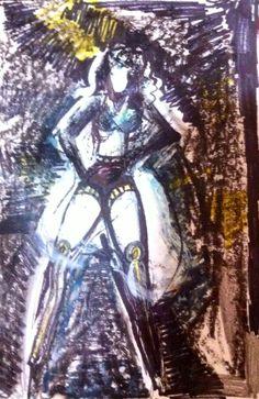 "'Bitch Better Have My Money - Rihanna.' Mixed Media On Card. 6x4"". Rosanna Jackson Wright. #Art #Rihanna #Music #Drawing #BBHMM #Abstract"