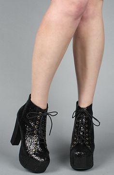 The Lita Shoe in Black Glitter
