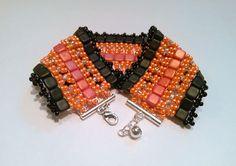 Orange and Black Tile Beadwork Bracelet-Coral and Black Tile