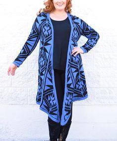 Look what I found on #zulily! Blue & Black Tribal Open Cardigan - Plus #zulilyfinds