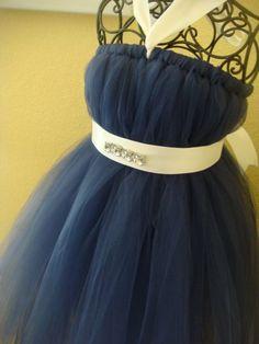 Flower girl!!!  Navy blue halter tutu dress with bling by raelei on Etsy, $30.00