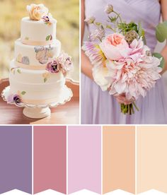 Purple and peach wedding inspiration - a colour palette of lavender and apricot, this is the perfect summery or spring romantic wedding look Popular Wedding Colors, Spring Wedding Colors, Spring Colors, Trendy Wedding, Dream Wedding, Wedding Colours, Summer Wedding, Plum Color Palettes, Pink Wedding Nails