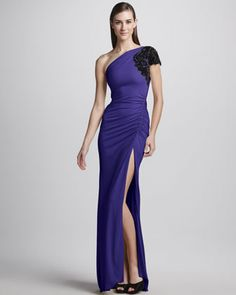 One-Shoulder High-Slit Ruched Gown by Badgley Mischka at Neiman Marcus.