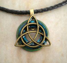 Triquetra Necklace Blue Men's Jewelry  by MaddDoggofTomorrow, $32.00