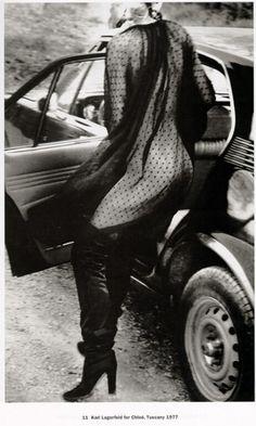 HELMUT NEWTON, 1977. Karl Lagerfeld for Chloe.