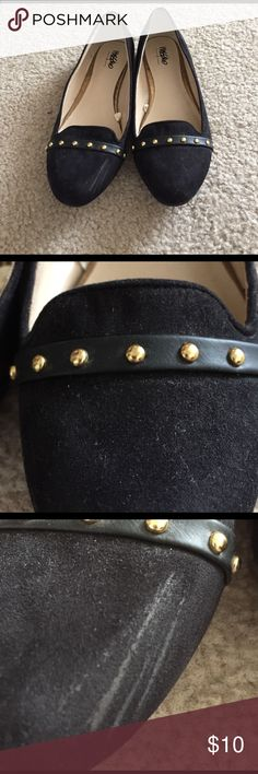 Mossimo Brand Black Flats with gold detail Purchased from Target, left shoe has scuff on side of the toe but otherwise these are in great condition! Mossimo Supply Co. Shoes Flats & Loafers