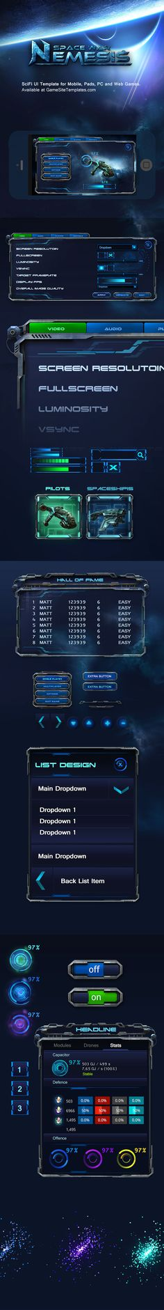 Space War Mobile Game UI Template on Behance