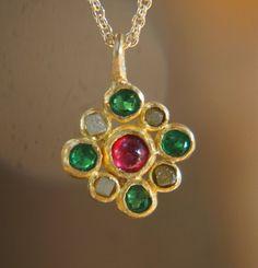 24k gold pendant//gold cross//gold artisan charm//emerald gold pendant//ruby gold pendant//ruby diam