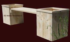 Tuinbank met plantenbak, van steigerhout