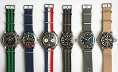 Nice assortment of watches on NATO straps from Hodinkee Cool Watches, Watches For Men, Dream Watches, Stylish Watches, Nato Strap, Seiko Watches, Beautiful Watches, Zulu, Luxury Watches