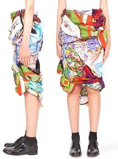 Comme Des Garcons Makes a Skirt from Vintage Scarves