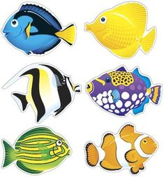 ARGUS 6 Designs Fish Friends Classic Accents Variety Pack, 36 per Package, tall Argus Colorful Fish, Tropical Fish, Fisher, Posca Art, Cartoon Fish, Fish Drawings, Sea World, Beach Art, Sea Creatures
