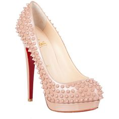 Christian Louboutin Alti Pump Spikes Nude ❤ liked on Polyvore