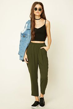 Style Deals - A pair of woven pants featuring front pleats, smocked waist, and two front slanted pockets.