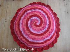 Red Spiral Crocheted Cushion