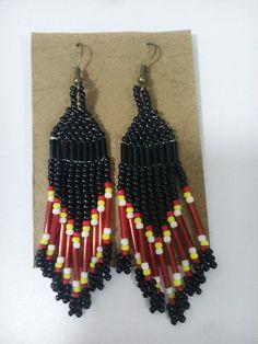 Beaded fringe earrings by sarawakbeads on Etsy