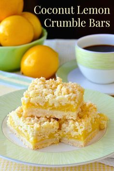 Coconut Lemon Crumble Bars - a 35 year old family recipe that combines coconut and tangy lemon filling in a buttery crumble bar cookie. They freeze well too but thaw them uncovered on a wire cake rack for best results. Coconut Recipes, Lemon Recipes, Sweet Recipes, Baking Recipes, Cookie Recipes, Dessert Recipes, Lemon Coconut Bars, Dinner Recipes, Dinner Ideas