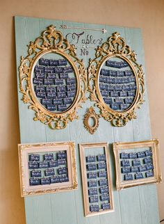 seating chart displayed in vintage frames, photo by Josh Gruetzmacher http://ruffledblog.com/santa-rosa-winery-wedding #seatingchart #escortcards #weddingideas