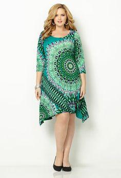 3/4 SLV BLUE PRINT SHAKRBITE DRESS, Blue Print