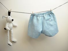Handmade light blue shorts for baby boy in pure linen, size 12-18 months. Ready to ship on Etsy, $27.51