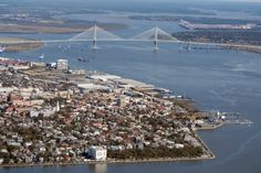 Charleston, Penisula and Cooper River Bridge to Mt. Pleasant, South Carolina...