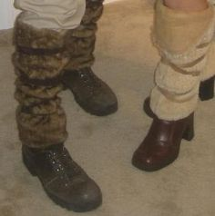 Viking Costume: faux fur leg coverings - tube of fabric, wrapped cris-cros with a band of fabric and tied.