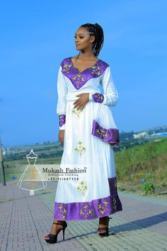 mukash flower habesha dress African Fashion Ankara, African Print Dresses, African Wear, Ethnic Fashion, Ethiopian Wedding Dress, Ethiopian Dress, Ethiopian Traditional Dress, Traditional Dresses, Habesha Kemis