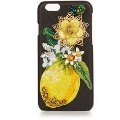 Dolce & Gabbana Crystal-embellished leather iPhone® 6 case (1.945 RON) ❤ liked on Polyvore featuring bags, embroidered bags, yellow leather bag, genuine leather bag, yellow bag and leather bags
