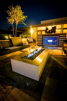 Three Cushions Seating and Rectangular Gas Fire Pit in Contemporary Patio Design Ideas Warmth Your Family and Friends with Fire Pit