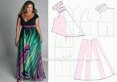 Modelagem de vestido com decote transpassado e saia evasê. Fonte: https://www.facebook.com/photo.php?fbid=706514692710805&set=a.262773027084976.75978.143734568988823&type=1&theater