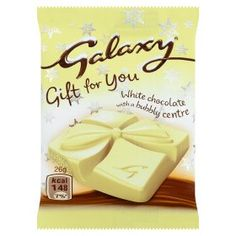 Galaxy White Chocolate with a Bubbly Centre Christmas 2014, White Chocolate, Bubbles, Tableware, Gifts, Food, Centre, Dinnerware, Presents