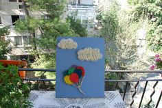 String Art Baloon and Clouds Handmade by FILATURE on Etsy