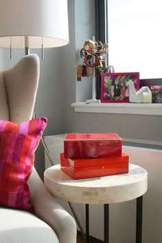 armchair + bone side table @Apartment Therapy