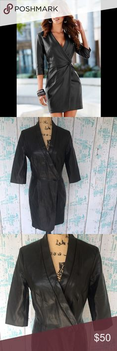 """Venus faux leather wrap jacket w/cropped sleeves Venus faux leather wrap jacket w/cropped sleeves. First photo is of jacket shown off to look like a dress. In great condition.   🍥Bundle deals available (I carry various sizes and brands in my closet): 2 items 10% off, 3 items 15% off, 4 items or more 20% off.  🍥No trades, modeling, or lowball offers please. 🍥All reasonable offers accepted only through """"offer"""" button. Please submit offer willing to pay as I prefer to not counteroffer. 🍥I…"""