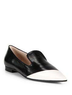 Bicolor Leather Point-Toe Loafers by Miu Miu