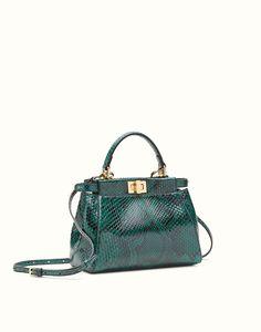 19957255d35a FENDI MINI PEEKABOO - green python handbag Fendi Peekaboo Mini