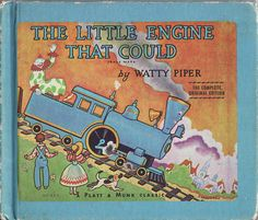 "Weekly Reader, library-bound edition (1969)  of the famous story of ""The Little Engine that Could,"" by Watty Piper, illustrations by George and Doris Hauman.  I grew up with this book, and so did my kids--the copy I read to my son who will soon be 20 was purchased by me before he was born, and I wrote ""to my baby"" inside the front cover.  This isn't that copy, but I liked the way the blue border offsets the illustrations."