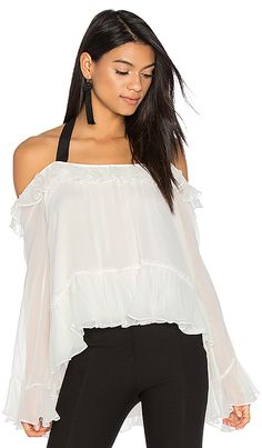 Cinq a Sept Amina Blouse in Ivory & Black