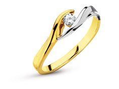 Pierścionek z żółtego i białego złota z brylantem - wzór 101.146 / Apart