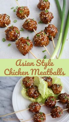 Asian Style Chicken Meatballs are sticky, sweet and healthy. This is a great appetizer for game day or a fancy party. Eat them as a Meatball lettuce wrap and you have a full dinner.