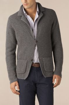 Knitting Cardigan Men Jumpers Ideas For 2019 Knit Jacket, Knit Cardigan, Mens Sport Coat, Sharp Dressed Man, Knit Fashion, Blazers For Men, Gentleman Style, Hand Knitting, Men Dress