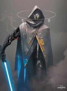 Science Fiction World — scifi-fantasy-horror: by esteo . Star Wars Fan Art, Star Wars Concept Art, Robot Concept Art, Armor Concept, Male Character, Fantasy Character Design, Character Design Inspiration, Character Concept, Mode Cyberpunk