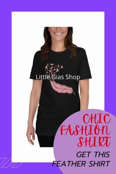 Feathervshirt with birds design t-shirt for women. This pink feather shirt is a perfect gift for sisters, gifts for moms and for grandmas. Available also on teen size and toddler size. #feathershirtfortoddler #feathershirtformom #giftideas #blackfridaysale #holidaysale
