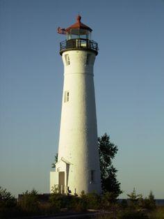 Crisp Point Lighthouse ~ Michigan's UP ~ 2006 Lighthouse Lighting, Lighthouse Photos, Crisp Point Lighthouse, Light House, Windmills, Oceans, Rivers, Wind Turbine, Michigan
