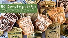 100 Junior Ranger Badges you can earn from home! Alaska National Parks, Glacier Bay National Park, Katmai National Park, California National Parks, Girl Scout Activities, Activities For Girls, Assateague Island National Seashore, Channel Islands National Park, Green Ranger
