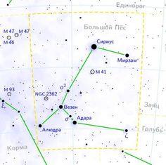 Созвездие Большого Пса находится в Южном Полушарии.обнаружено греческим астрономом Птолемеем во 2-м веке. Оно представляет собой одну из двух «собак» (вторая -  созвездие Малый Пес, которое следует за Орионом, охотником).  В некоторых мифах это созвездие отождествлялось с Лелапом – псом, который был настолько быстрым, что ни одна добыча не могла его опередить. Однажды пес погнался за лисицей, которая могла бегать так же быстро, как и он. Их гонка не могла прийти к логическому завершению