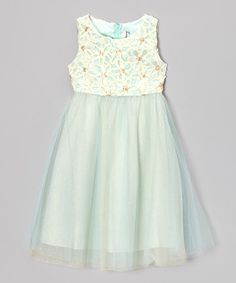 Take a look at this Ivory & Mint Flower Soutache Dress - Girls by Rare Editions on #zulily today!