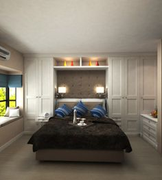 Cupboards around the bed. Great come back in 2014.Most practical solution to create storage . Custom Design for one of our clients.