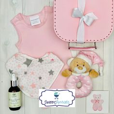 """Beautiful baby hamper for the little baby girl. """"Fun with Teddy"""" Baby Hamper, Baby Baskets, Little Baby Girl, Little Babies, Linen Company, Baby Girl Boutique, Baby Size, Baby Girl Newborn"""