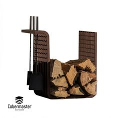 Square is the most simplistic Firewood Holder. As the name implies, it has a three-dimensional square shape, ideal for stacking firewood since it can support a large amount of cargo. It is designed with a 90º angle turned to the outside so you can suspend the accessories in the holder.  Dimensions (cm): Width: 47; Depth: 30cm; Height: 50cm Stacking Firewood, Firewood Holder, Wood Storage, Minimalist Design, Three Dimensional, Bronze, Shape, Metal, Accessories